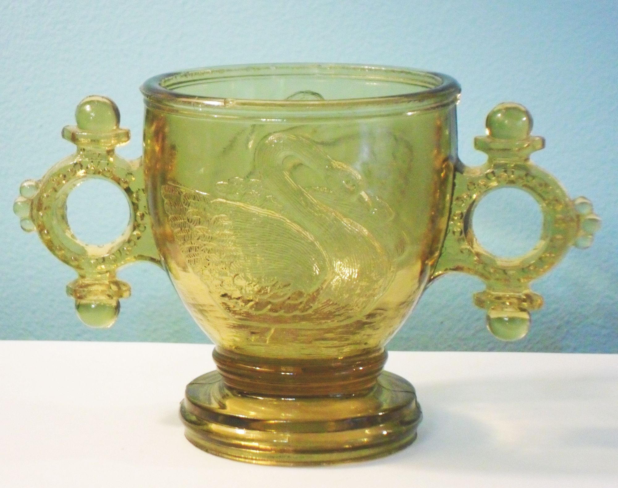 Atterbury glass company pittsburgh pennsylvania swan with double ring handles mustard or sugar bowl floridaeventfo Choice Image