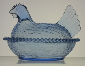 Indiana Glass hen in light blue