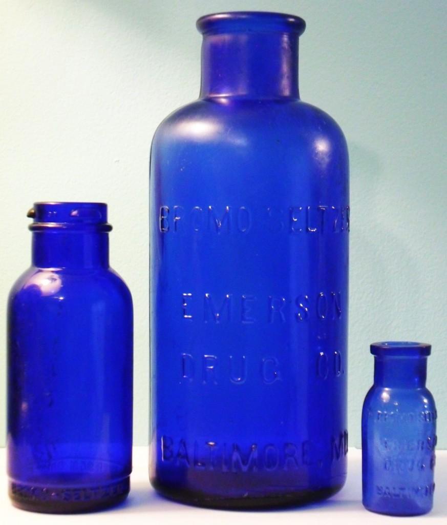 Cobalt Blue Bromo-Seltzer bottles