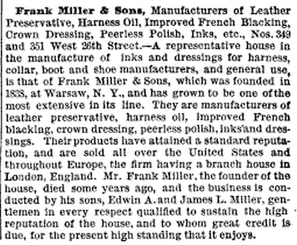 Frank Miller & Sons - New York, New York - 1885 article