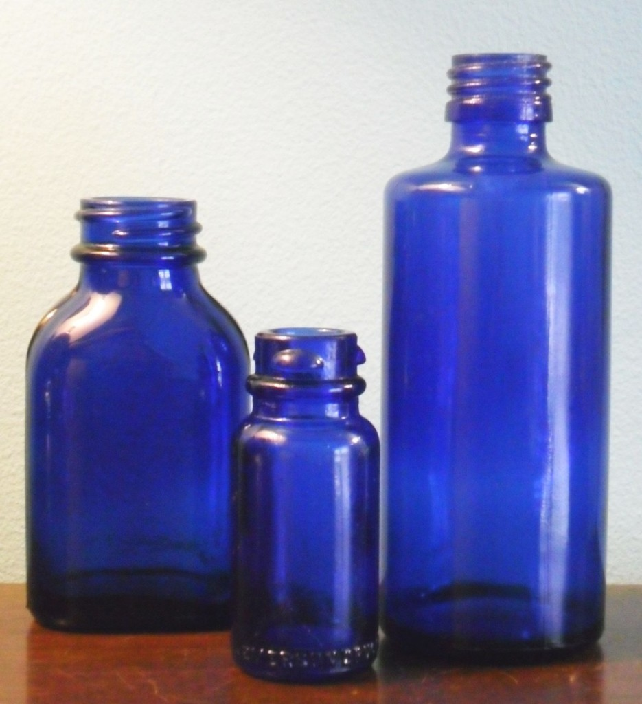 3 Maryland Glass Corporation bottles in cobalt