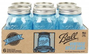 "New issue Blue glass Ball Perfect Mason jars, ""American Heritage Collection"" in pint size."