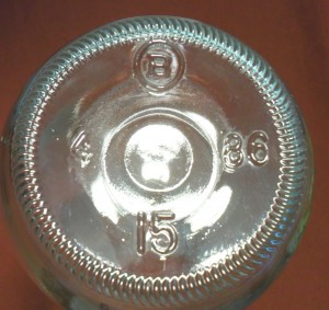 Brockway Glass Company - base of 1986 clear soda bottle