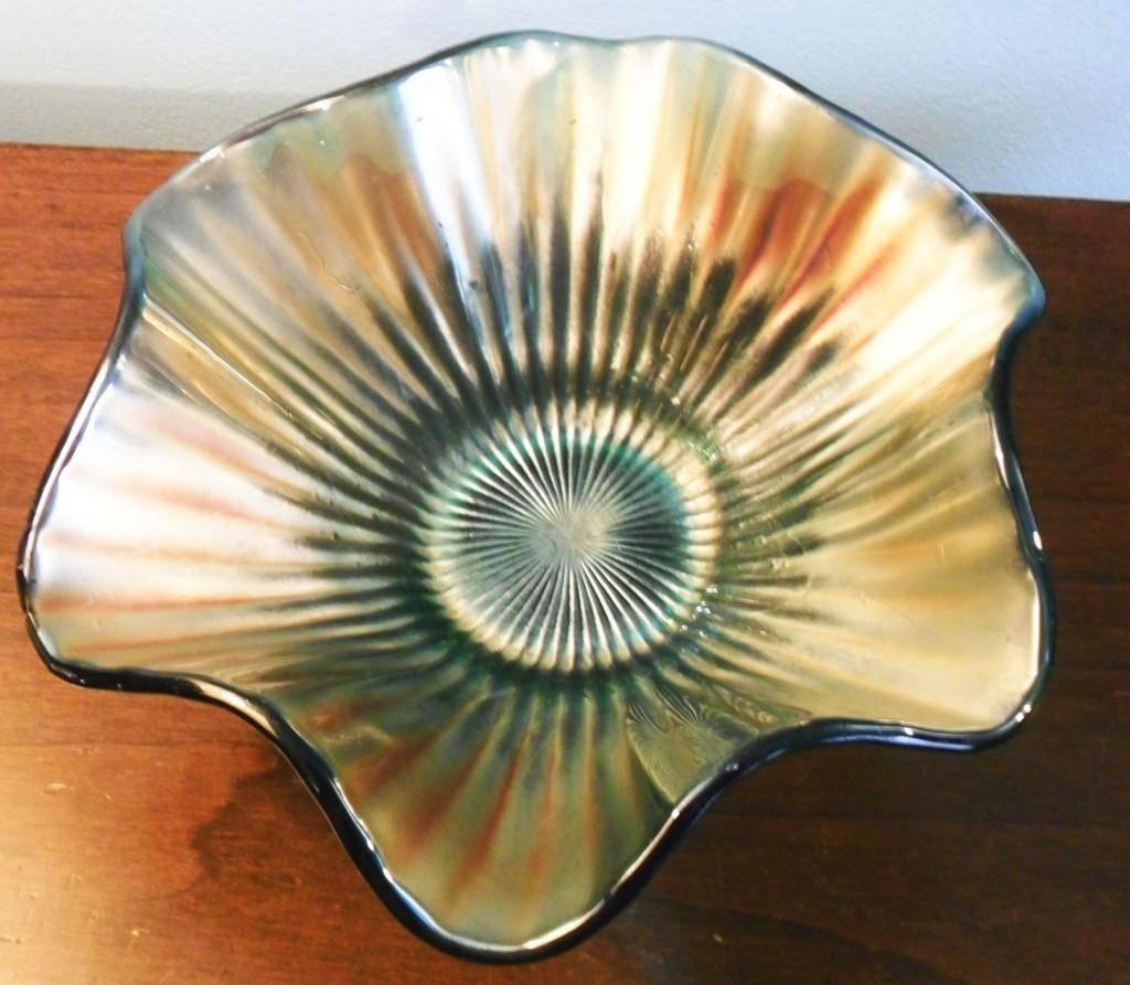 Carnival Glass bowl, aqua glass, unidentified maker, ruffled pattern.