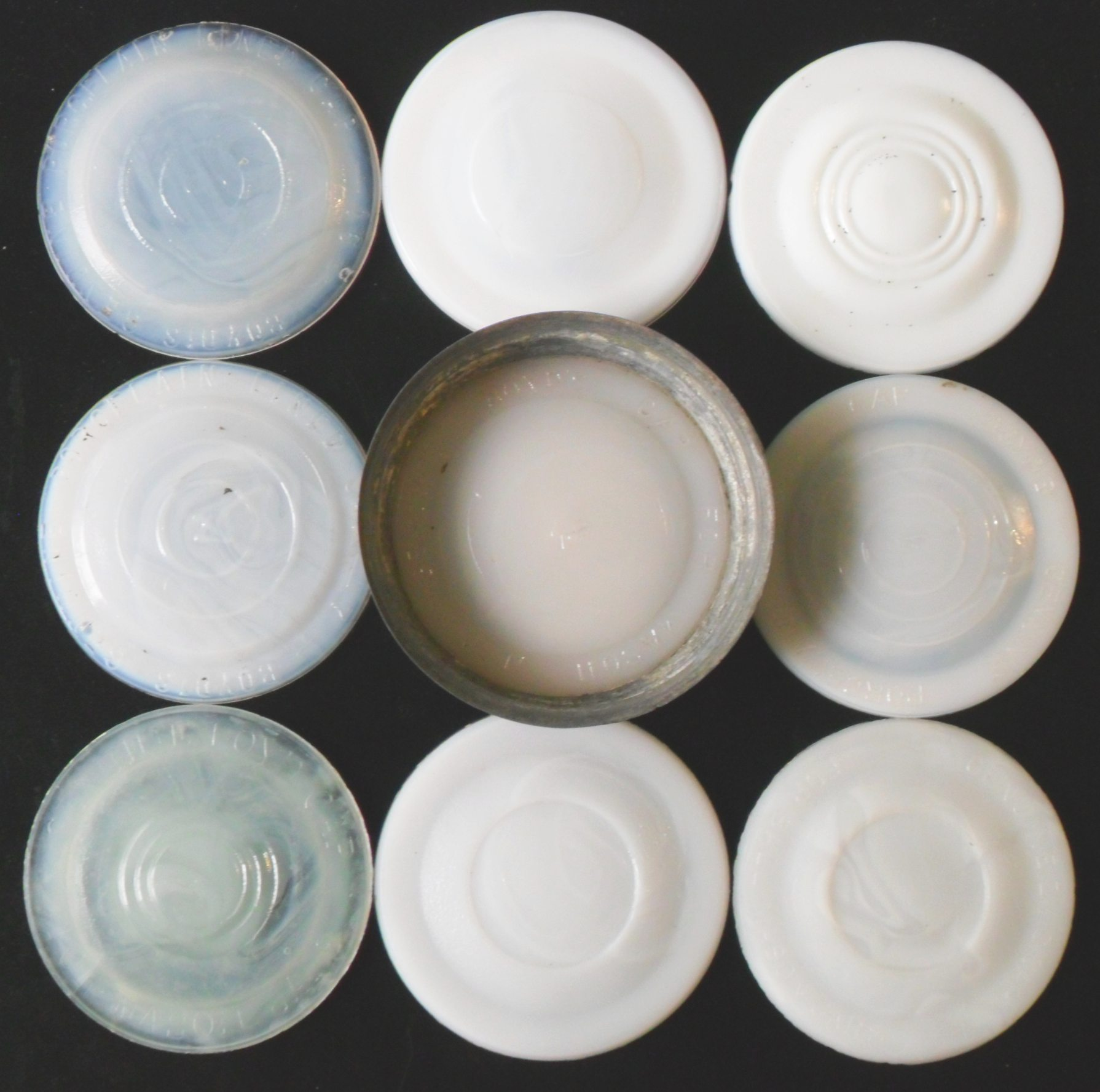 Boyds genuine porcelain lined cap milkglass jar liners group of milk glass liners with various markings floridaeventfo Gallery