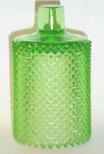 """FAROY """"Diamond Point"""" type stemmed candle holder in """"depression green"""" glass. Marked in a circular formation around the stemmed base is """"PAT. NO. 2 204556 / FAROY / U.S.A.""""  (The first """"2"""" is a mold number)."""
