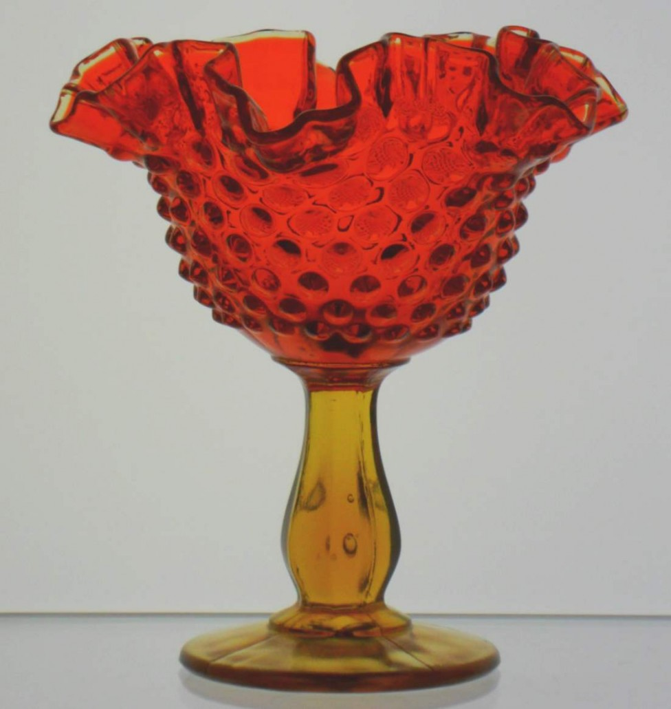 "Hobnail candy dish in Amberina glass (""Fenton inside an oval ""mark is on the base)"