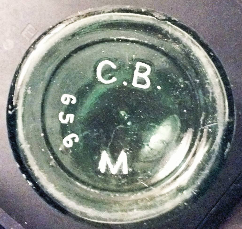 "Base of ""C.B.M. 656"" bottle, (photograph courtesy of Dee)"