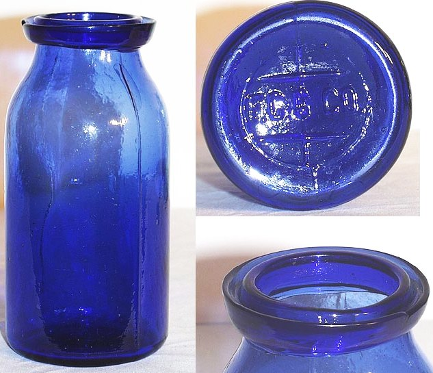 FCGCO wax sealer fruit jar in cobalt blue, quart size (photographs courtesy of Greg Spurgeon, HoosierJar.com)