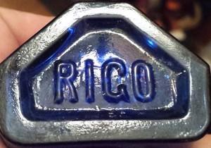 """""""ROGO"""" mark on cobalt bottle (photo courtesy Eric Foster)"""