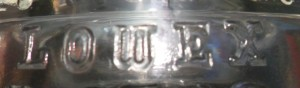 LOWEX mark on glass insulator made by Owens-Illinois