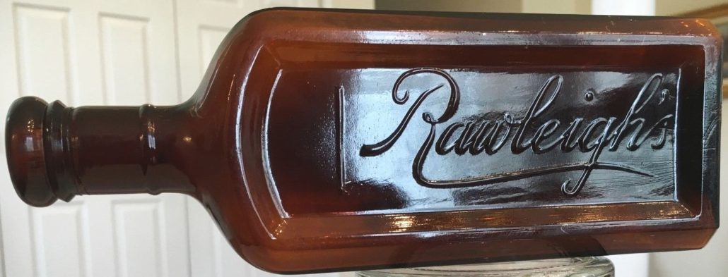 "Rawleigh's bottle in amber, machine-made type, circa 1910s-20s (photo courtesy ebay seller ""704mikem"")"