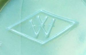 """W in a diamond"" used by Westite Glass Company, as it appears on the base of a jade green milkglass vase (photo courtesy of Abby Chovanec)"